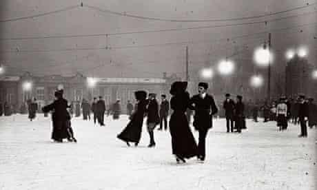 Ice skating by night in Vienna circa 1910.