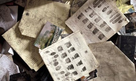 Documents, photographs and fingerprint sheets in Libyan police station