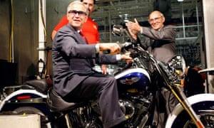 President Bush visits a Harley-Davidson plant in Pennsylvania