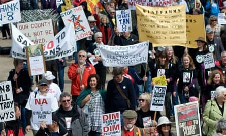 Protesters in Powys, where there are plans for 870 wind turbines.