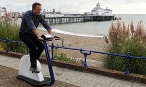 Michael Mosley on exercise bike Horizon