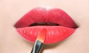 Applying red lipstick ask hadley valentine's day