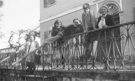 Nancy (second left) with the Durrell family in Corfu
