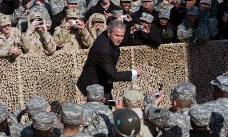 George W Bush with troops near Kuwait City, 2008