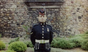 Lance corporal John Meighan in front of Edinburgh castle, 1990.