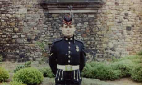 Lance corporal John Meighan in front of Edinburgh castle, 1990.