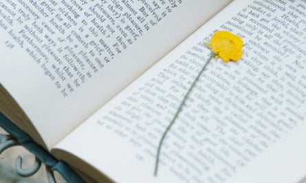 A book being marked by a flower and a stone