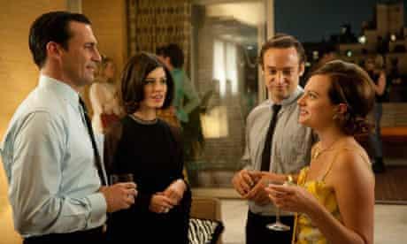 Jon Hamm, Jessica Paré, Charlie Hofheimer and Elisabeth Moss in the fifth season of Mad Men