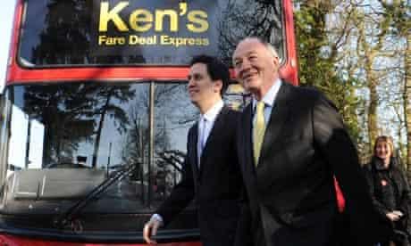 Labour leader Ed Miliband and London Mayor candidate Ken Livingstone