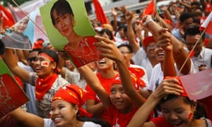 Supporters of the NLD party cheer