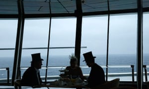 Passengers enjoy traditional afternoon tea on board the Titanic Memorial Cruise