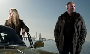 Sofia Helin and Kim Bodnia as detectives Saga Norén and Martin Rohde in BBC4 crime drama The Bridge.