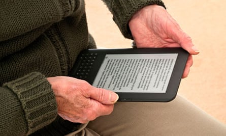 An ebook being used by an elderly person
