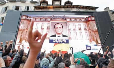Supporters of newly-elected president Francois Hollande,