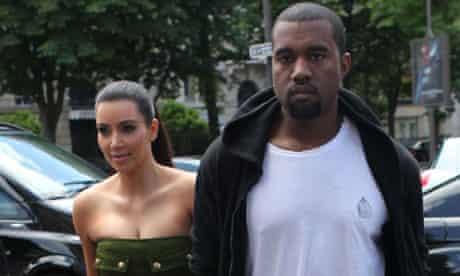Kim Kardashian and Kanye West in Paris on 17 June 2012