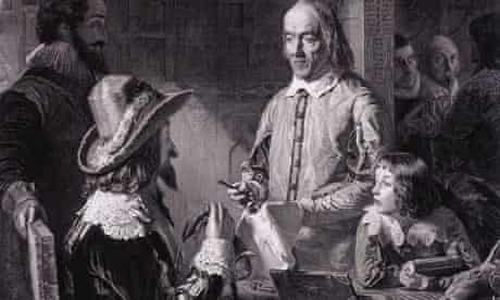 William Harvey showing circulation of blood to Charles I