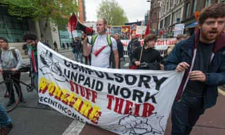 London May Day March workfare protest