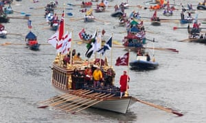 The Queen's royal barge during the jubilee celebrations on the Thames