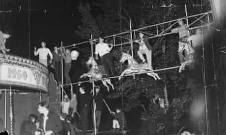 Rioters scale the lighting rig at the Beaulieu jazz festival