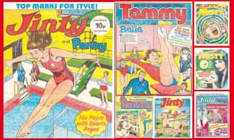 montage of vintage girls comics