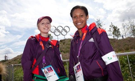 Michelle Lynch and Cemi Rhule, first aid Volunteers near the Basketball Arena.