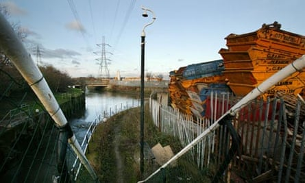 a view of the River Lea, east London, before its regeneration forthe 2012 Olympics