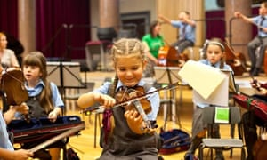 Young students at the Royal Liverpool Philharmonic's 'In Harmony' school in West Everton, Liverpool