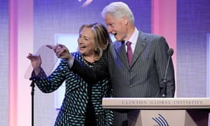 Hillary Clinton and Bill Clinton at the 2012 Clinton Global Initiative, New York, on 24 September.