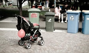 An abandoned baby in a pram