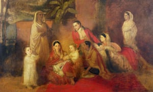 An army officer of the East India Company pictured with his Indian wife and their children, 1785.