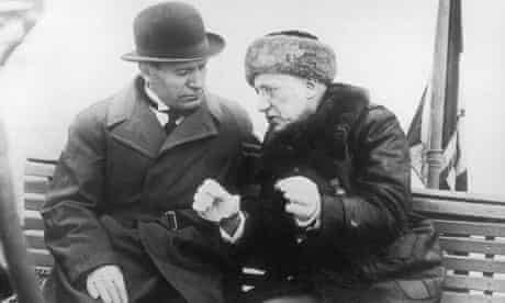 Gabriele D'Annunzio with Mussolini in Italy, 1925.
