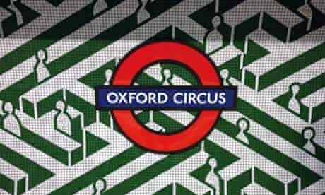 Coloured tiling in Oxford Circus tube station