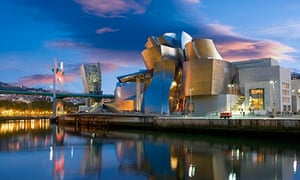 Guggenheim museum at night