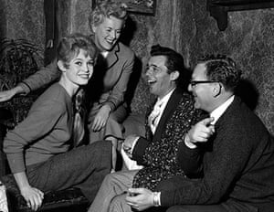 Brigitte Bardot, Betty Box, Dirk Bogarde and director Ralph Thomas, on the set of Doctor at Large