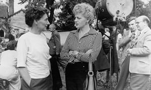 Muriel Box, left, with Shelley Winters on the set of To Dorothy a Son, 1954