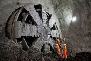 Tunnelling machine 'Elizabeth' breaks into the specially built chamber at Stepney Green earlier this