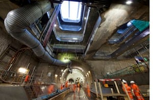 The vast cavern beneath Stepney Green where the line divides into two spurs, to Abbey Wood and to Sh