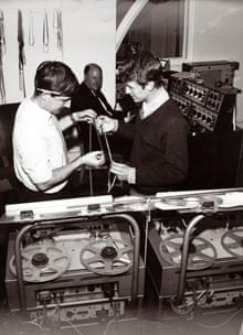 Dick Mills (left) and Brian Hodgson (right) working in the studio during the 60s.