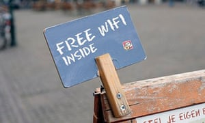 Free wifi sign, cafe, The Hague, Netherlands. Image shot 2009. Exact date unknown.