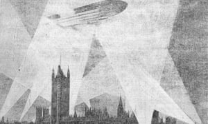 A zeppelin over the Houses of Parliament