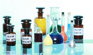Various medicine glass bottles