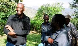 Andrew Rugasira speaking to farmers in Kasese
