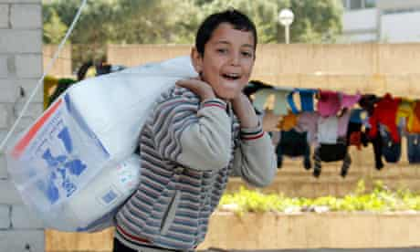 A Syrian refugee boy in Sidon