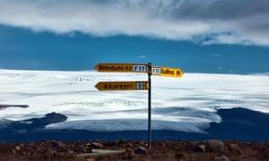 signposts along the Kjolur Highland Route Iceland