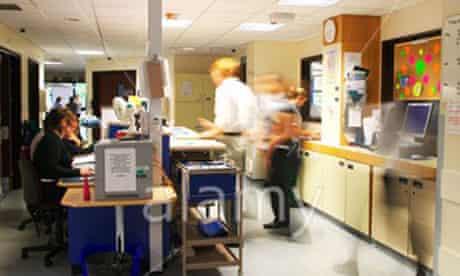 A busy NHS hospital ward.