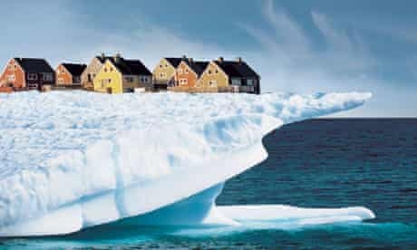 Houses on Edge of Ice Cliff. Image shot 2007. Exact date unknown.