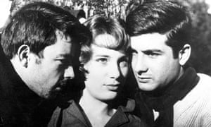 Gerard Blain, Bernadette Lafont and Jean-Claude Brialy in Chabrol's Le Beau Serge (1958).
