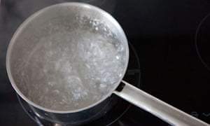 A pot of boiling water