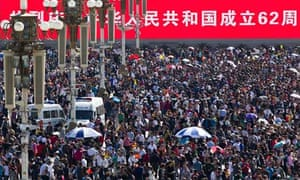 Crowds celebrate National Day in Tiananmen Square, China, the world's most populous country.