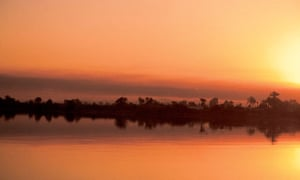 Sunset on the river Nile, Egypt.